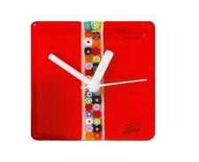 CLOCK Red 10 cm 4 Inches in MURANO glass with MURRINA Millefiori by MORBIDEIDEE