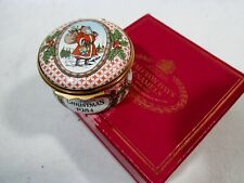 1984 Halcyon Days England Christmas Santa Claus Enamel Trinket Box