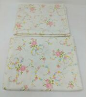 Cannon Monticello Pillowcase Set Floral Flower Farmhouse Cottage Chic Muslin VTG