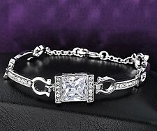 18K White Gold Plated Square Elegant Charm Bangle Bracelet with Crystals  Women