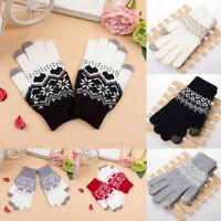 Men Women Knitted Winter Warm Gloves Phone Touch Screen Full Finger Mittens