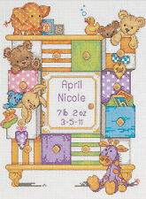 Cross Stitch Kit ~ Dimensions Animals & Drawers Baby Birth Record #73538