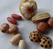 Set of12 Kukui Nut et bois à motifs Perles, 10 mm - 25 mm, pour Artisanat