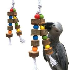 Parrot Pet Bird Chew Bite Toy Wooden Bell Cage Swing Toys For Cockatiel Parakeet