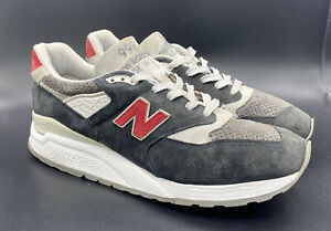 2000s New Balance 998 Infinit Custom Gray/Red Suede Shoes size 10.5 US998MCP