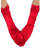 Red Satin & Red Pearls rouched Elbow Length Gloves Prom Evening One Size Ladies