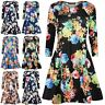 Ladies Floral Jersey Flared Long Sleeve Womens Party Mini Swing Skater Dress