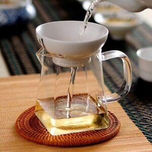 Convenient Tea Set Teapot Kettle Set Cup Flower Tea Durable Square Glass Bottom