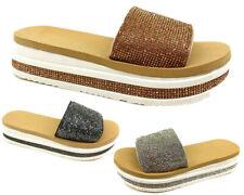 New Women Sparkle Diamante Flip Flop Platform Shoes Slider Lady Slip On Slippers