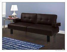 Modern Futon Sofa Bed Mainstays Faux-Leather Armrests Sleeper Futons Beds, Brown