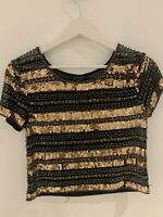 BLACK GOLD SEQUIN TOP 6 TOPSHOP GLAM PARTY CLUB IBIZA MARBS PRETTY SPARKLY CHIC