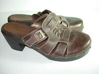 WOMENS BROWN LEATHER MULES CLOGS COMFORT HEELS CAREER CASUAL SHOES SIZE 8.5 M