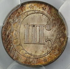 1853 3 Cent Silver, PCGS MS-64 *Great Toning* 3c Coin DGH