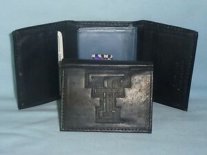 TEXAS TECH RED RAIDERS   Leather TriFold Wallet    NEW    black 3v
