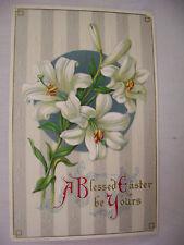 VINTAGE EMBOSSED EASTER POSTCARD EASTER LILLIES ON WALLPAPER FACE H WESSLER 1909