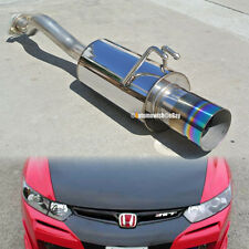 """Fit 06-10 Civic 2/4 DR Stainless Steel Axle back Exhaust Muffler 4"""" Green Tip"""
