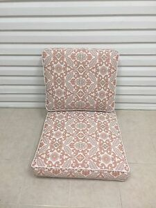 Frontgate ARABESQUE Swivel Lounge Patio Chair Outdoor Cushions 25x27 Paisley NEW