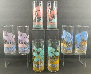 "8 Tropical Highball Glasses Set Vintage 6 1/4"" Purple Pink Blue Green Palm Trees"
