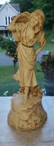 """Vintage Marwal Woman Lady with Basket Chalkware Statue 17.5"""""""
