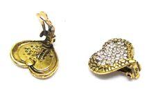 Silver Gold Heart Stud Clip on Earrings Crystal Diamante Gift Women Jewellery UK 12 - 2 X 2.5cm