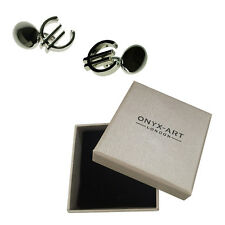 Mens Silver Plated Euro Sign Chian Cufflinks & Gift Box By Onyx Art