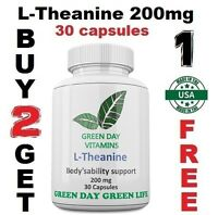 L-Theanine 200mg High Potency Large Bottle Stress Relief! Fresh!Made USA