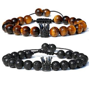 2PCS Tiger Eye Lava Rock Stone Crown Anxiety Stress Relief Men Women Bracelets
