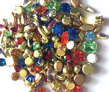 100 Swarovski Vtg Assorted Preset Craft Repair Rhinestones Brass