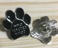 Rescue Pet Cat Dog Fur baby Pin Badge - Who Rescued Who? Free Uk Post