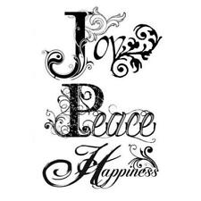 Stamperia Natural Rubber Stamp - Joy, Peace Happiness WTKCC42 New Free P & P