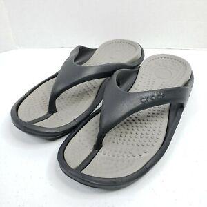 Crocs Athens Croslite Flip-Flops Sandals M9 W11 Black/Blue/Gray Comfort Thong