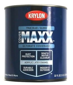 1 Krylon Cover MAXX True Blue Gloss Ultimate Coverage Indoor Outdoor 32 oz