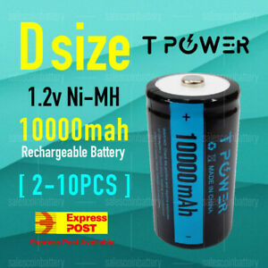 Tpower Heavy Duty 1.2V D size 10000mAh Ni-MH Rechargeable battery NIMH Battery