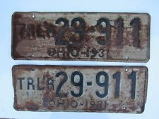 Vintage 1931 Ohio Trailer License Plates Rare Pair