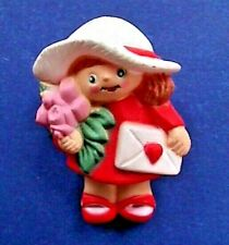 Easter Unlimited Pin Valentines Vintage Girl Card Rose Bouquet Holiday Brooch