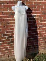 Vintage Vanity Fair Off White Satin Nylon Lace Trim Long Nightgown Medium Gown