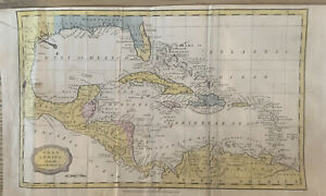 1816 West Indies, Central America, Gulf of Mexico Hand Coloured Map
