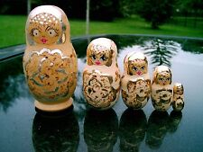 "Set of 5 Russian Nesting Dolls w/ Gold/Silver Gilt Designs 4"" Silver Accent"
