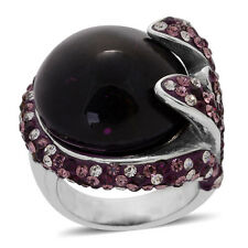 PURPLE GLASS MULTICOLOR AUSTRIAN CRYSTAL ACCENT STATEMENT STEEL RING SIZE 6