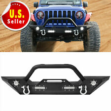 For Jeep Wrangler 18-21 Jl Front Bumper W/D-rings & Built-in Led Lights (Fits: Jeep)