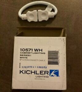 """Kichler 10571WH White Under Cabinet Accessories 9"""" Interconnect Cable"""