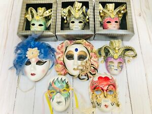 Lot of 8 Porcelain Jester Clown Mask Decorative Hand Painted Mardi Gras Masks