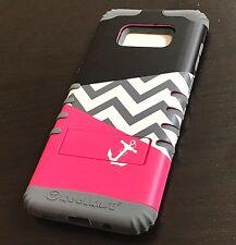 For Samsung Galaxy S8 - Hybrid High Impact Armor Case Pink Gray Chevron Anchor