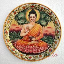 "Decorative plates 9"" Marble Stone Handmade Buddha painting Home decor"