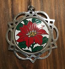 1987 Lunt Sterling  Silver Frame 10th Issue Enamel Merry Christmas Ornament