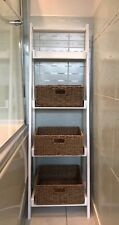 Bathroom Storage Ladder Shelves Bedroom Unit Wicker Baskets Rattan Shabby Chic