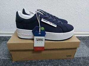 TOMMY HILFIGER jeans Damen Schuhe blau Oversized Label Icon Sneaker Gr 41 NEU