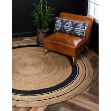 Hand Braided Round Mat Natural Jute Rag Rug Area Floor Dhurrie 180 x 180 cm