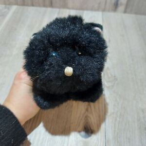 Vintage 1980 Gund Black Kitty Cat Plush with Bell In Tail