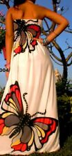 ELEGANT WHITE BUTTERFLY comfortable cool tropical womens wear maxi dress